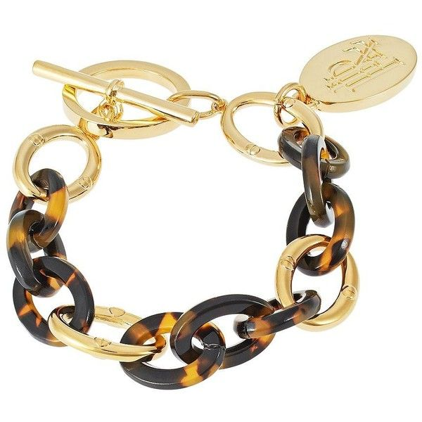 LAUREN RALPH LAUREN Chain-Link Charm Bracelet ($19) ❤ liked on Polyvore featuring jewelry, bracelets, bracelets/watches, tortoise, tortoise jewelry, bracelet charms, tortoise shell jewelry, bracelet bangle and charm jewelry