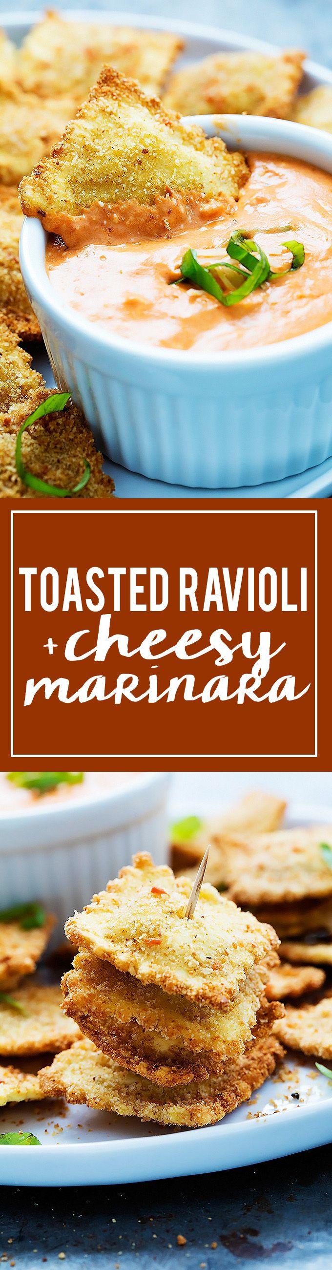 Easy Toasted Ravioli with Cheesy Marinara dipping sauce | Creme de la Crumb