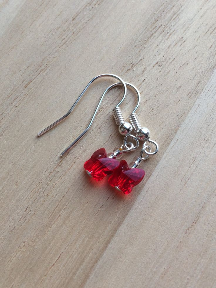Swarovski Red Crystal Butterfly Earrings, Modern Clip On, Small Delicate Earrings, Womens Gifts, Gift For Her, Red Earrings, New UK Shops by MadeByMissM on Etsy