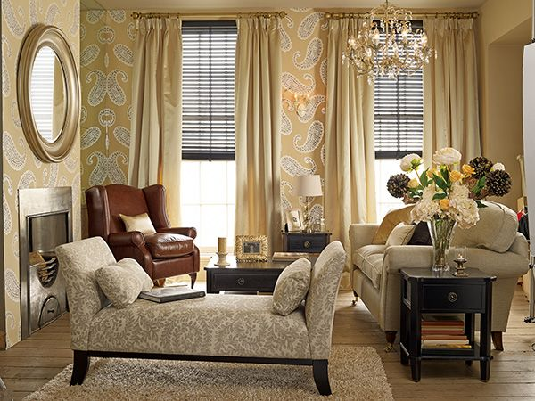 Emperor paisley gold from the laura ashley wallpaper for Brown and cream living room wallpaper