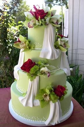 Rose and seaglass green wedding cake