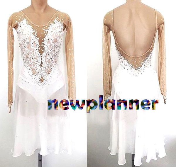 Tailor White Latin dance DRAG SEQUIN SALSA SHOW dress