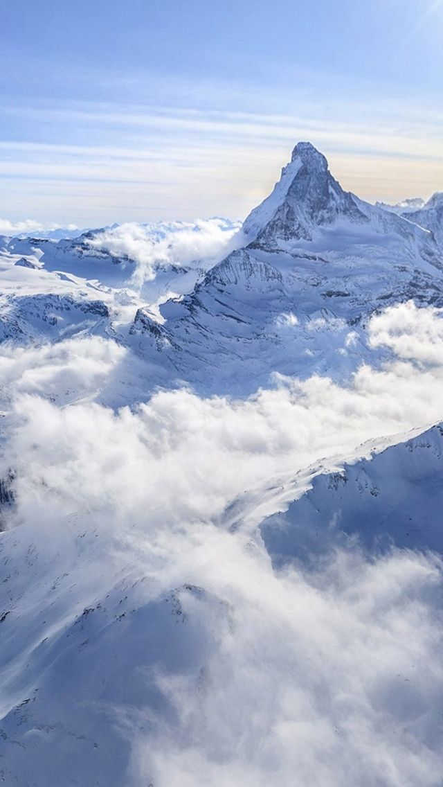 White Clouds Snowy Mountains iPhone 5s wallpaper