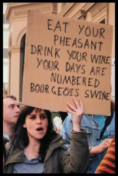 #protest #sign: bourgoise swine #funny