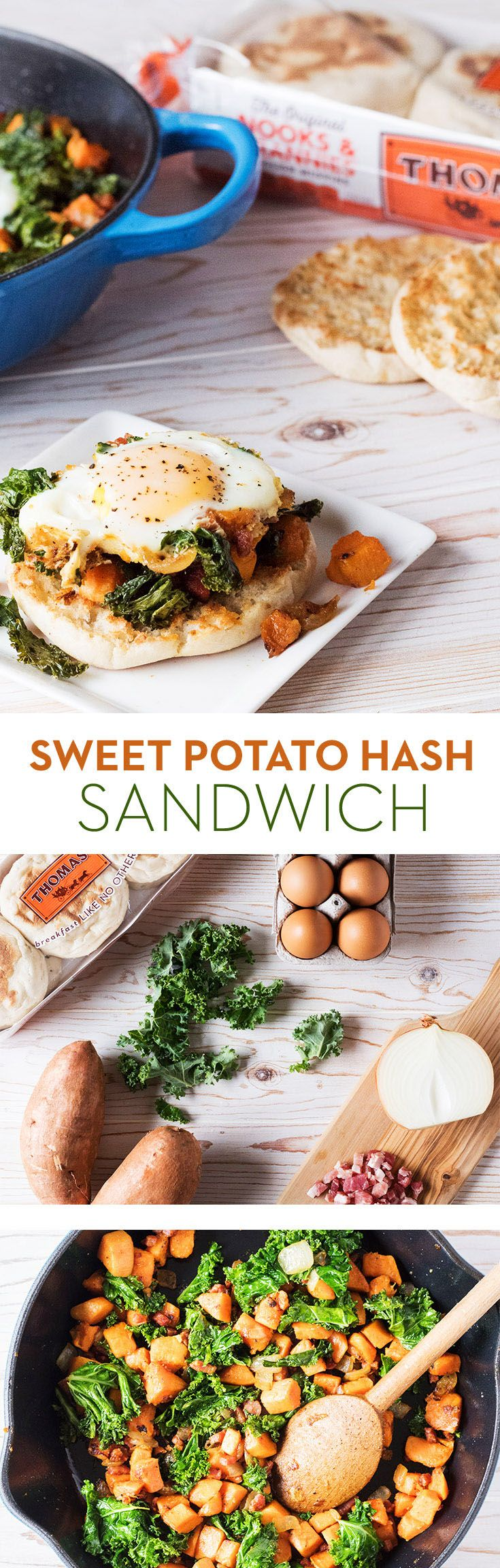 Sweet Potato Hash Sandwich: Whip up a breakfast that's hearty and wholesome. Sautéed onion, pancetta, sweet potato and kale hash goes great with an over easy egg atop a toasted Thomas' English Muffin.