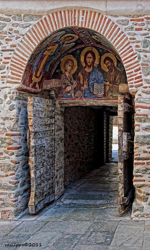 The entrance to Dionysioy Monastery, Mount Athos, Greece