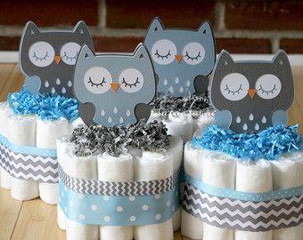 Tarta de pañales Mini buho en azul y gris búho por AllDiaperCakes