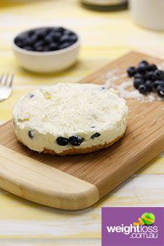 Blueberry Coconut Cheesecake. #HealthyRecipes #DietRecipes #WeightLossRecipes weightloss.com.au