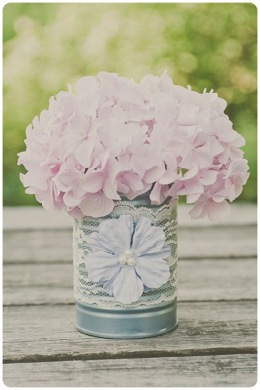 Painted tin can vase. Wedding decor. Ivory lace and light blue. Wedding centerpieces. $12.00.