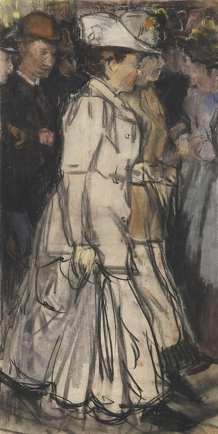 Isaac Israels (1865-1934) <br />An evening stroll <br />signed 'Isaac Israels' (lower right) <br />charcoal and pastel on paper <br />54 x 28 cm. <br />