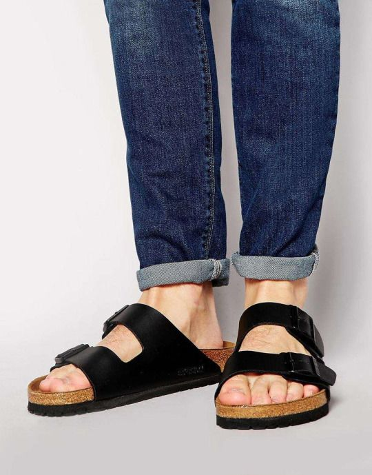 Black Leather Birkenstock Sandals, Classic, Men's Spring Summer Fashion.