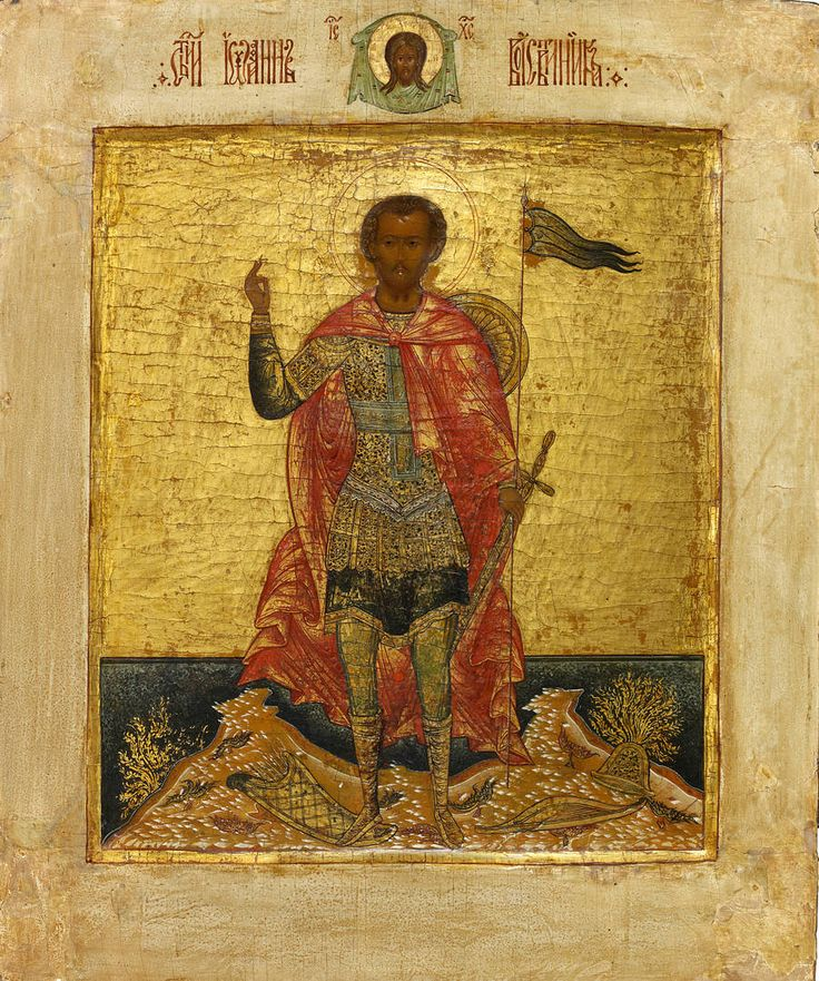 Detailed view: KK056. Saint John the Warrior- exhibited at the Temple Gallery, specialists in Russian icons