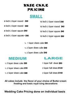 Cake Prices Guide Cake Price List Screenshot Cakes
