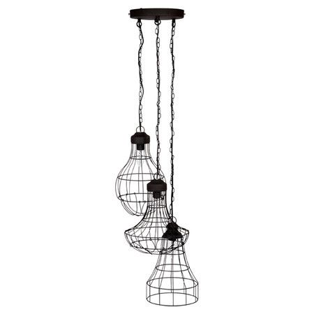 Channeling industrial style influences, this metal pendant light features three framework shades. Ideal for illuminating your kitchen or hallway.