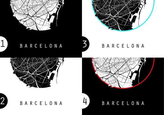 Barcelona Map Spain Map Europe Map Black And White Map