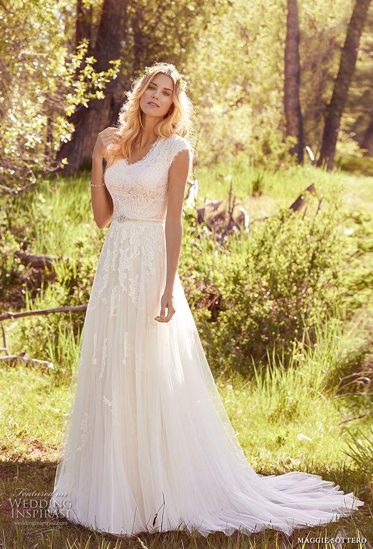 maggie sottero spring 2017 bridal cap sleeves v neck heavily embellished bodice romantic a line wedding dress full back chapel train (ashley) mv