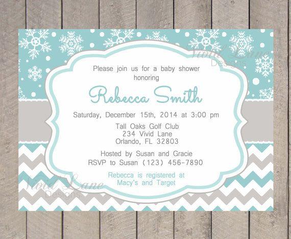 Hiver Baby Shower Invitation, imprimable, bleu, flocons de neige, gris, Chevron, douche de bébé inviter - 313