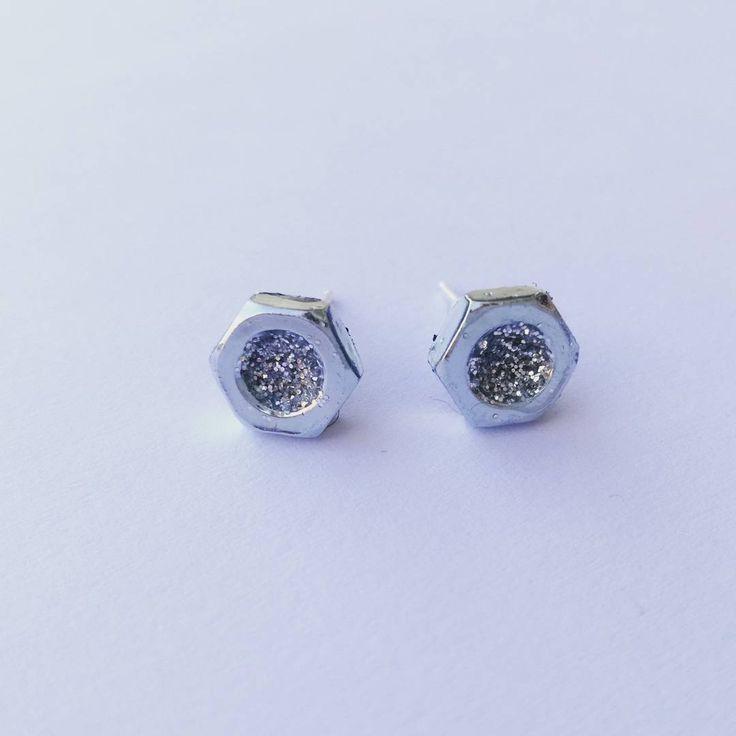 Glitter nut screw earrings by INDIGO by Anna Szoke