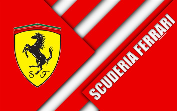 Download wallpapers Scuderia Ferrari, 4k, Italy, Formula 1, material design, red abstraction, art, F1, racing team, Ferrari