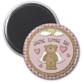Jesus Loves Me Teddy Bear Angel Round Magnet