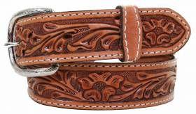 Mens - Hand-Tooled - Double J Saddlery Belt - B578 - Natural Floral Tooled Belt