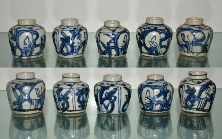A group of 10 pcs ZhangZhou (Swatow) Blue and White Jarlets