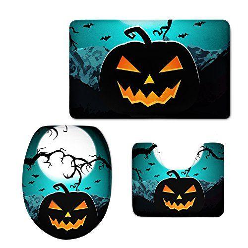 Halloween Pumpkin Pattern Bathroom Rug Set Toilet Seat Cover Contour - halloween bathroom sets