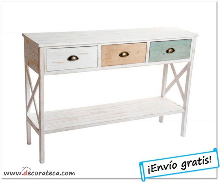 "Consola de madera envejecida con 3 cajones ""Capri"" - WWW.DECORATECA.COM"