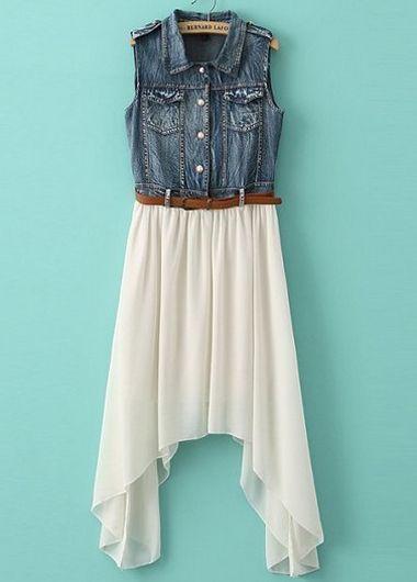 www.shopciable.mx - Rosewe - Casual And Pretty Turndown Collar Sleeveless Denim Dress with Belt - White