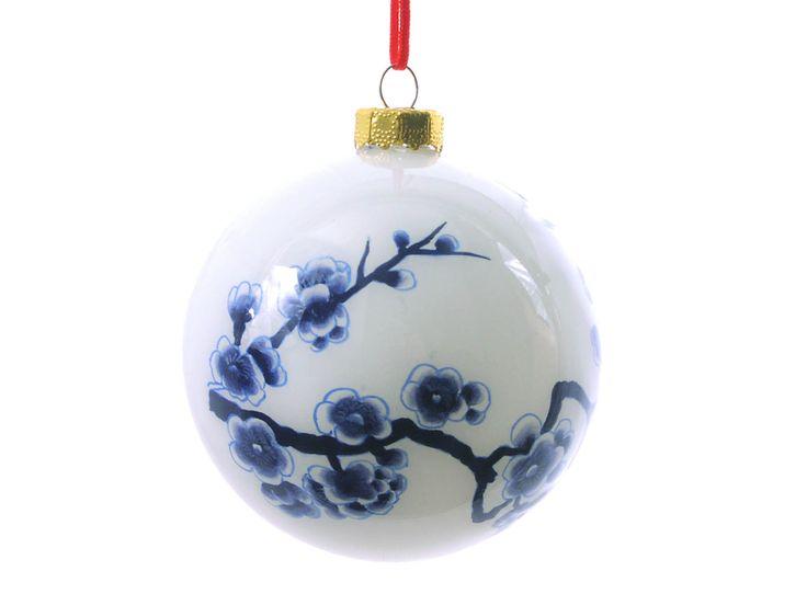 Blue Cherry Blossom Glass Ornament