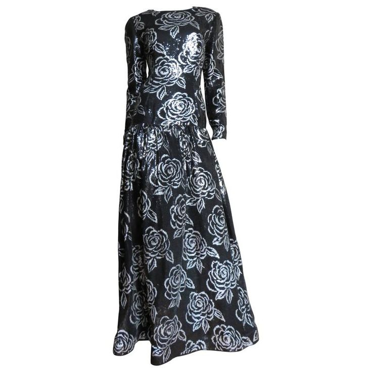 Fabulous Oscar de la Renta Sequin Gown | From a collection of rare vintage evening dresses and gowns at https://www.1stdibs.com/fashion/clothing/evening-dresses/