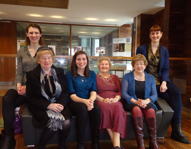 Founders of WMI, back row: Jean Sutton and Kate Cunningham. Front row: guests of honor who kindly donated images to the exhibition - Josie Conway, Ella Hassett, Kathleen Ryder and Carmel Heneghan