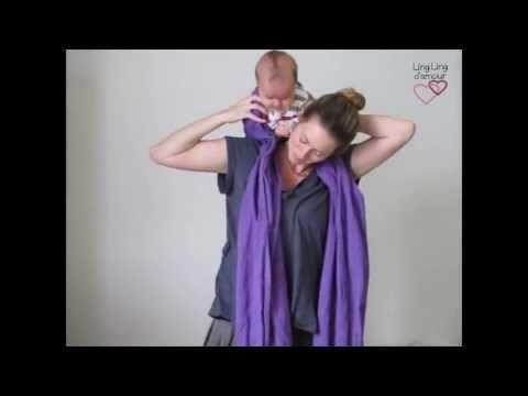 """écharpe de portage : mise sur le dos """"en cigogne"""" pour petit bébé - YouTube"""