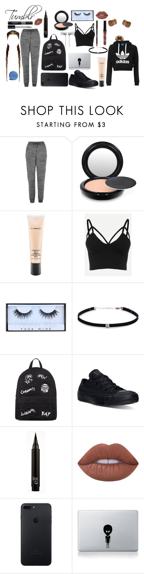 """""""Tumblr"""" by polyvore-outfits909 ❤ liked on Polyvore featuring adidas Originals, Topshop, MAC Cosmetics, Christian Dior, Huda Beauty, Carbon & Hyde, Mini Cream, Converse, Lime Crime and Vinyl Revolution"""