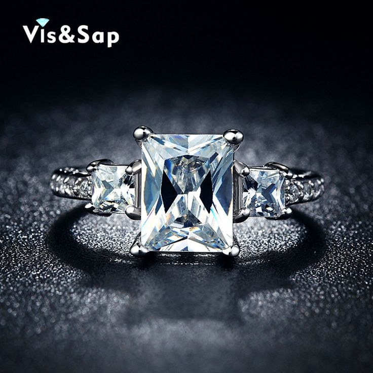 White gold plated ring 2ct cz diamond jewelry square shape bague Engagement wedding Rings For Women resell wholesale VSR032