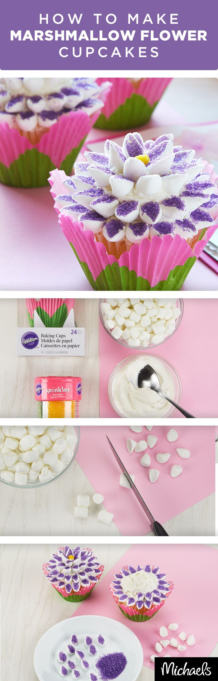 Celebrate Spring with sweet flower-topped cupcakes. Can you believe these flowers are made from marshmallows? It's so easy, anyone can do it! Get the tutorial and everything you need to make this project on Michaels.com