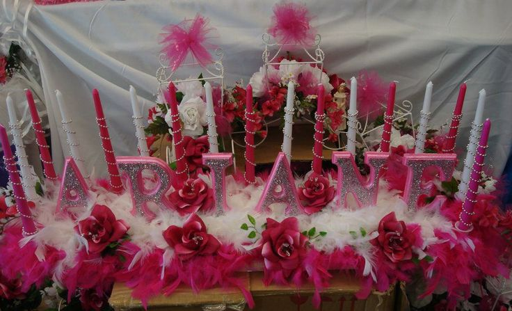 Hot Pink Sweet Sixteen Candle Stand With Name Sweet
