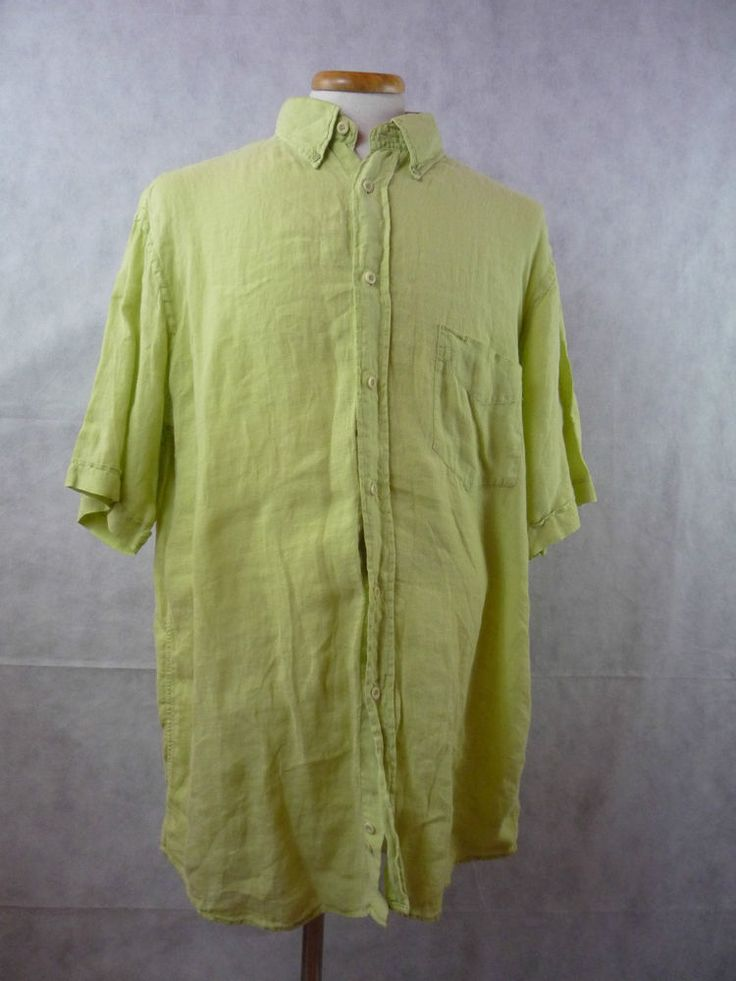 PAUL & SHARK men's LARGE(42) 100% Linen Green Button Front Short Sleeves SHIRT #PaulShark #ButtonFront