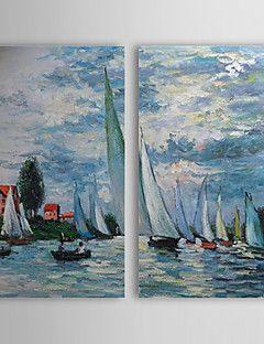 Dipinti a mano olio pittura di paesaggio con telaio allungato Navi Set di 2 1308-LS0748