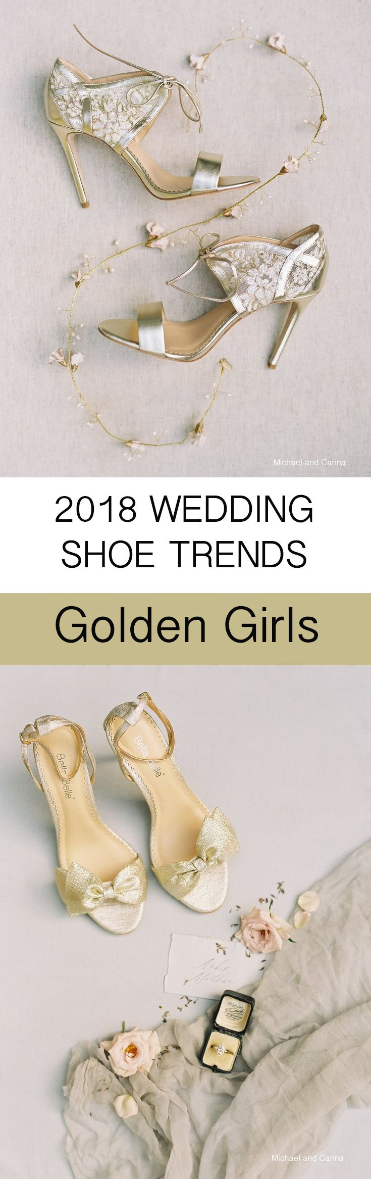 2018 Wedding Shoe Trends features the Golden Girls, aka the gold wedding shoe look. Be bold, different, unique but equally glamorous, classy and feminine with Bella Belle grace, featuring gold delicate lace floral details with pearl embroidery or Aubrey with a oversized gold bow at the front for a statement making effect, both comfortable with extra padding and are re-wearable for date nights and special occasions! Photography: Michael and Carina