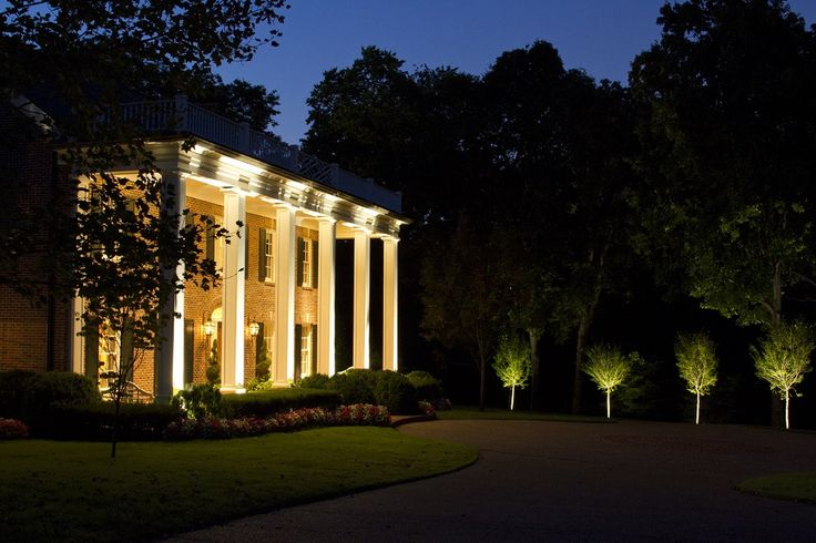 Belle Meade architectural LED lighting and tree lighting by Outdoor Lighting Perspectives of Nashville.