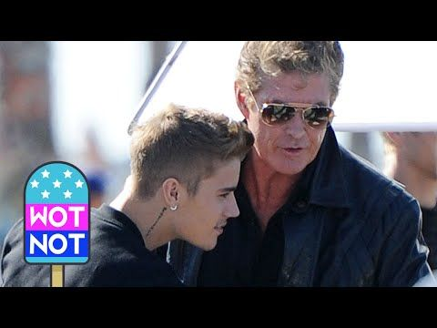 Justin Bieber is Killing Hasselhoff! Bieber plays KITT from Knight Rider in a New Movie! David Hasselhoff was pictured giving pop superstar Justin Bieber a big bear hug when they both teamed up to shoot a comedy movie titled 'Killing Hasselhoff' in Venice Beach, Los Angeles. IMDB has Justin Bieber playing the iconic voice of K.I.T.T! © Atlantic Images