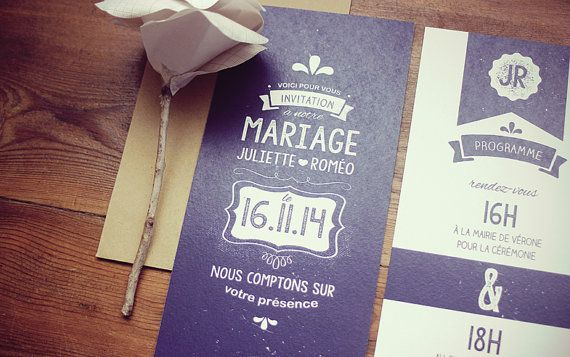 Faire part Mariage  le Usé par VincianeGraphic sur Etsy