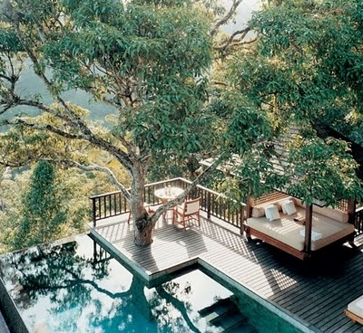 pool with a beautiful sceneOutdoor Beds, Outdoor Living, Pools Decks, Dreams House, Trees House, Places, Infinity Pools, Backyards, Bali Indonesia