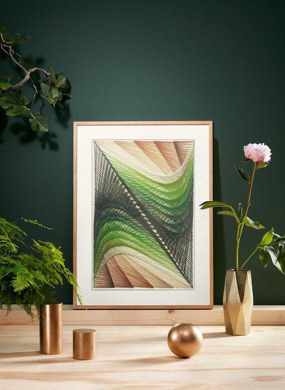 Abstract Wall Art String Art Izonit Handmade Custom by UniqueHZ