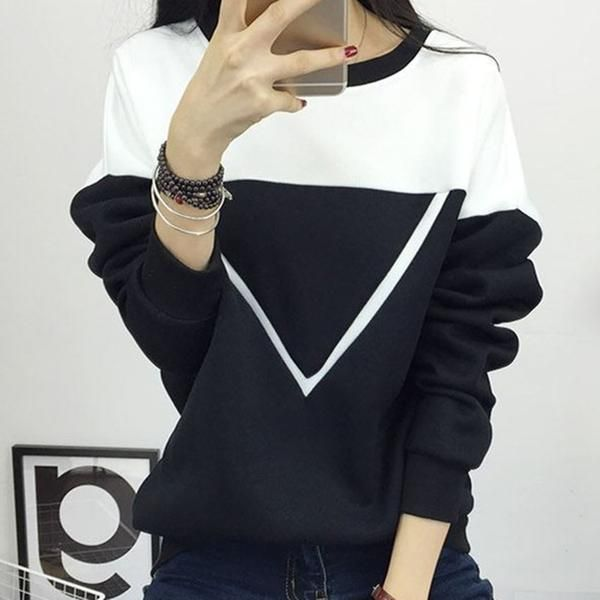 Black and White Spell Color Patchwork Hoodies Women V Pattern Pullover Sweatshirt Tracksuit M-XXL