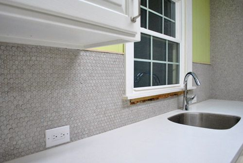 penny tile backsplash| Young House Love