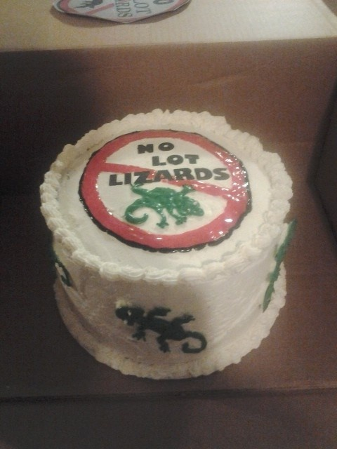 No lot lizards cake for trucking company cookout. A little humor for the guys.....2012 http://food-trucks-for-sale.com/