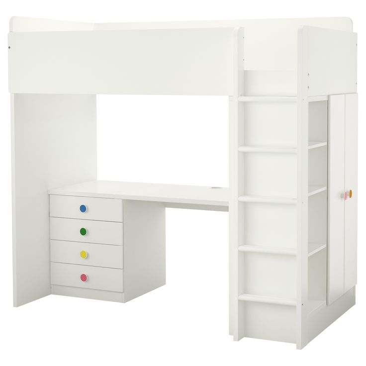 IKEA - STUVA / FÖLJA, Loft bed with 4 drawers/2 doors, , With this loft bed you get a complete solution for your child's room – including desk, wardrobe and open shelf unit.You can assemble the desk parallel, perpendicular, or complete with 2 ADILS legs for a free-standing desk.If you choose to assemble the desk perpendicular to the bed, you can access the wardrobe from both sides.To reduce the risk of slipping, the ladder has anti-slip groves.It´s easy to keep sockets and cords ou...