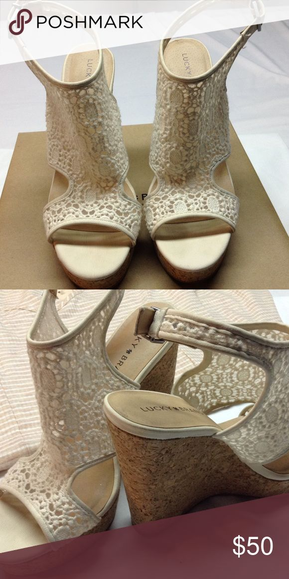 Natural /cloud Cream wedge sandal-NWOT Cork wedge sandal - 4.5 wedge heel - shoes have never been worn in original box Lucky Brand Shoes Wedges
